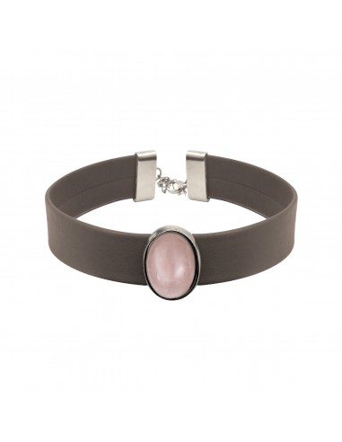 LEATHER CHOKER STONE